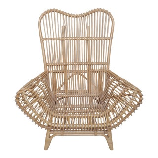 Beautiful Vintage Albini Style Rattan Chair For Sale