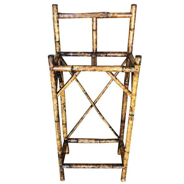 1900 - 1909 Restored Aesthetic Movement Two Slot Antique Tiger Bamboo Umbrella Stand For Sale - Image 5 of 6