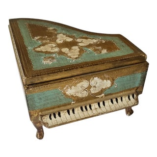 Green and Gold Florentine Piano Jewelry Box For Sale