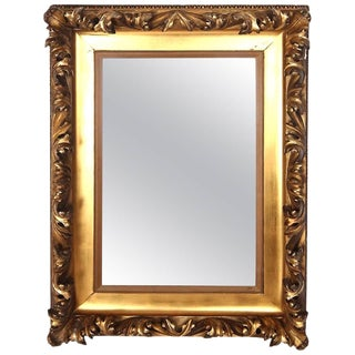 Mid-19th Century Gilt Classical Acanthus Looking Glass Mirror For Sale