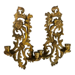 Antique Giltwood Wall Candle Sconces, Hand Made Gilt Gold Old Italy Rare Tole Wall Hangings - a Pair For Sale