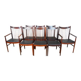 Set of 8 Arne Vodder for Sibast Danish Modern Rosewood Dining Chairs For Sale
