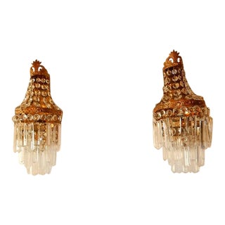 French Crystal Prisms Empire Sconces, Circa 1930 For Sale