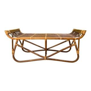 Vintage Boho Chic Rattan Bench For Sale