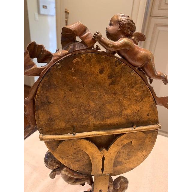 Bronze Art Nouveau Mirror With Bronze Putti Cherubs For Sale - Image 8 of 9
