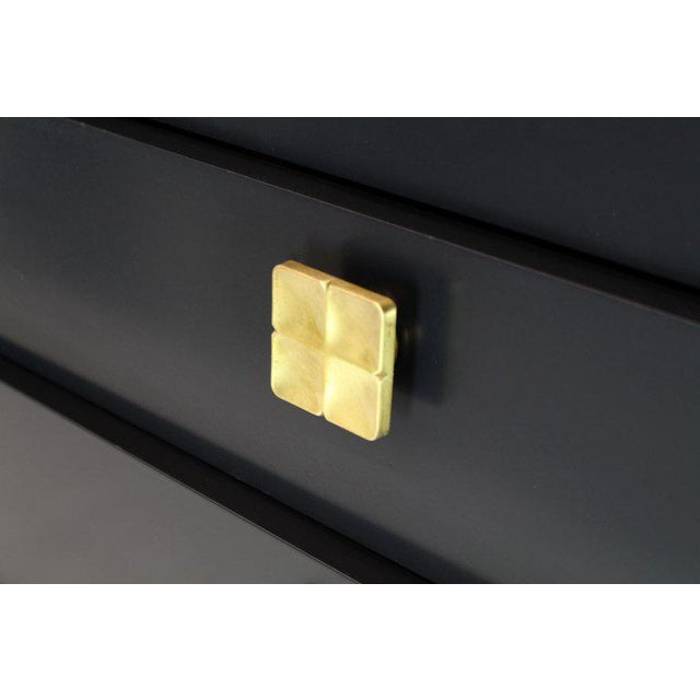Black Lacquer Tall Decorative Brass Hardware Pulls High Chest Dresser For Sale - Image 11 of 13
