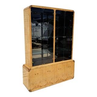 Henredon Scene Two Olive Burl China Cabinet Display Case For Sale