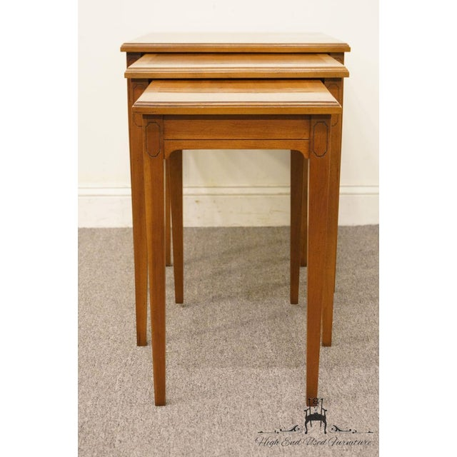 Italian Heritage Solid Ash Italian Neoclassical Nesting End Tables - Set of 3 For Sale - Image 3 of 12