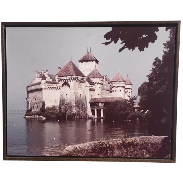 Large 1960s Castle Photograph on Rustic Wood - Image 1 of 4