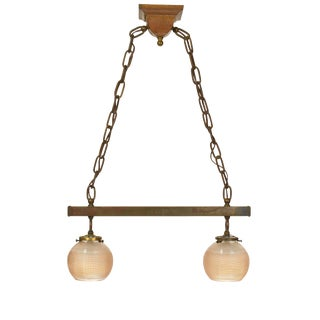 Arts and Crafts Style Two Light Pendant Fixture