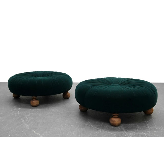 Textile Antique Emerald Green Velvet Round Button Pleated Ottomans - A Pair For Sale - Image 7 of 7
