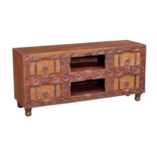 Boho Chic Solid-Wood Unique Natural and Red Painted Entertainment Unit For Sale