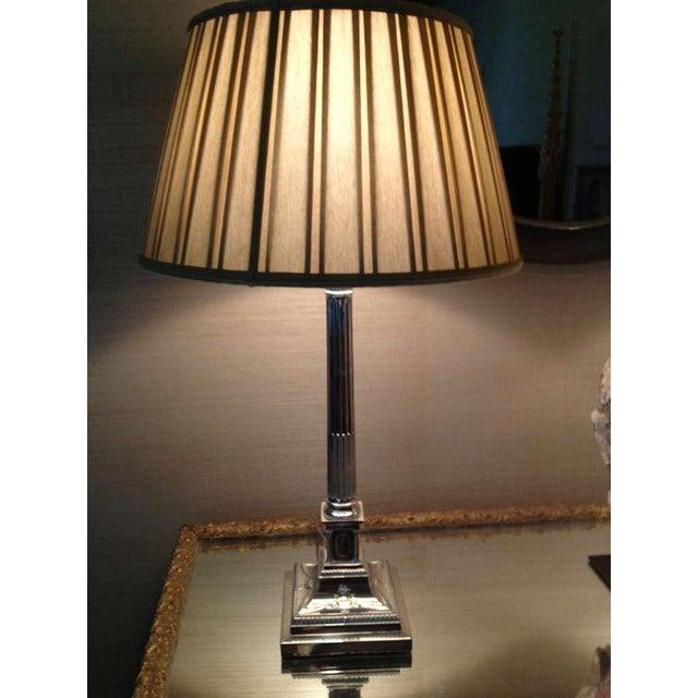 Pair of English Corinthian Column Silver Lamps - Image 7 of 8