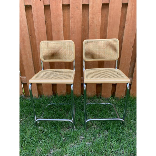 Marcel Breuer Cesca Breuer Style Cantilevered Cane Counter Stools - a Pair For Sale - Image 4 of 10