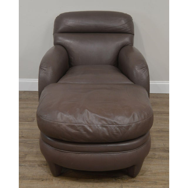 Traditional Donghia Leather Lounge Chair With Ottoman For Sale - Image 3 of 13