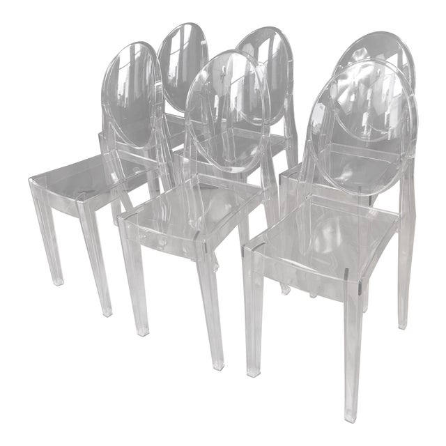 "Philippe Stark for Kartell ""Victoria Ghost"" Chairs - Set of 6 For Sale"
