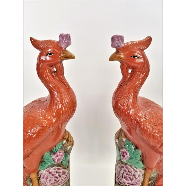 Rare Orange Large Famille Rose Phoenix Sculpture Figurines -Pair- Feng Shui - Chinese Chinoiserie Palm Beach Boho Chic Tropical Coastal Botanical For Sale In Miami - Image 6 of 13