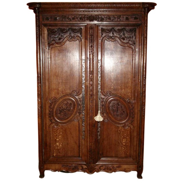 One of a Kind Beautiful Normandie Armoire For Sale
