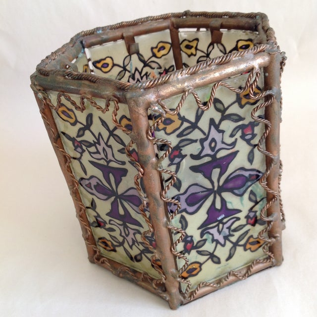 Bohemian Moroccan Brass & Glass Candle Lantern - Image 6 of 10