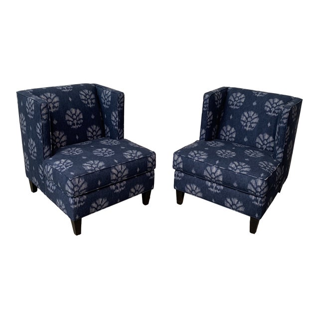 Blue and White Contemporary Wing Chairs For Sale