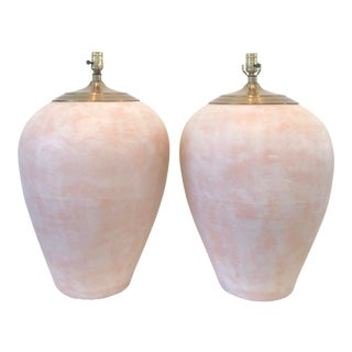 Southwest Style Blush Tone Pottery Lamps - a Pair For Sale