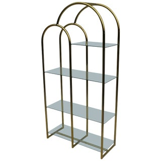 1970s Brass and Glass Etagere For Sale