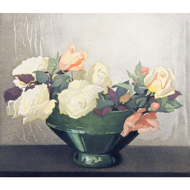 Colored woodblock on paper by Arthur Rigden Read (1879-1955) England, Roses still life. Signed, dated 1924 and titled in...