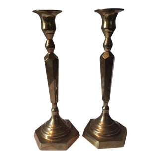 1910s Antique Brass Candle Holders- A Pair For Sale