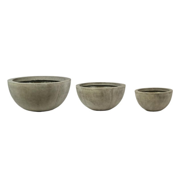 Outdoor Concrete Planter Bowls - Set of 3 For Sale