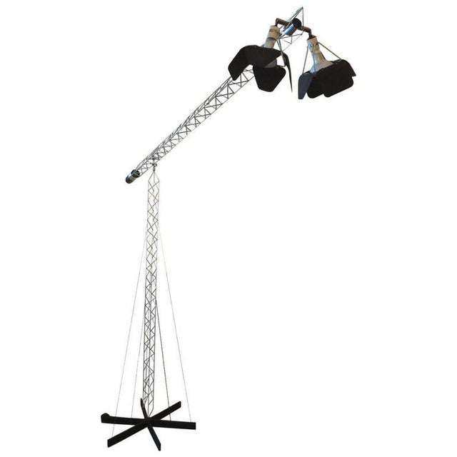 Chrome Curtis Jere Large Size Crane Standing Lamp, Signed, 1977 For Sale - Image 8 of 8