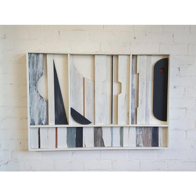 Architectural abstract frieze art wall panel by Paul Marra. Materials are wood, paint and gesso and with hand applied...