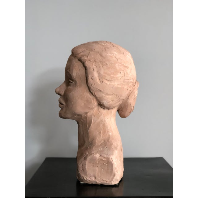 Mid Century Clay Bust For Sale - Image 4 of 7
