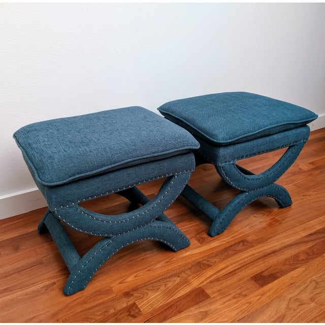 Regency-Style Sculptural Ottomans, a Pair For Sale - Image 4 of 8