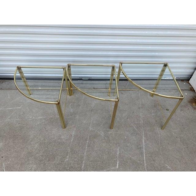 Milo Baughman Mid Century Milo Baughman Glass Top Corner Nesting Tables - 3 Pieces For Sale - Image 4 of 11