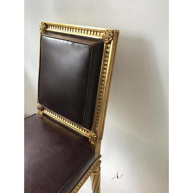 French Style Louis XVI Giltwood/ Leather Dining Chairs- Set of 4 For Sale - Image 4 of 13