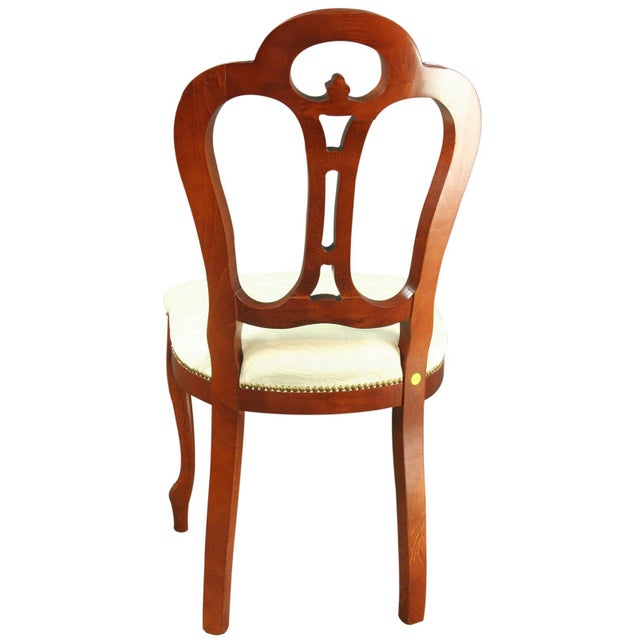 Italian Ivory Damask Dining Chair For Sale - Image 4 of 8