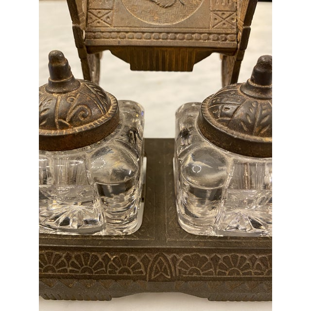 1877 Victorian Cast Iron and Pressed Glass Double Inkwell For Sale - Image 4 of 13