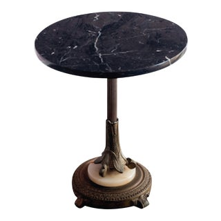 Antique Marble Top Round Side Table For Sale