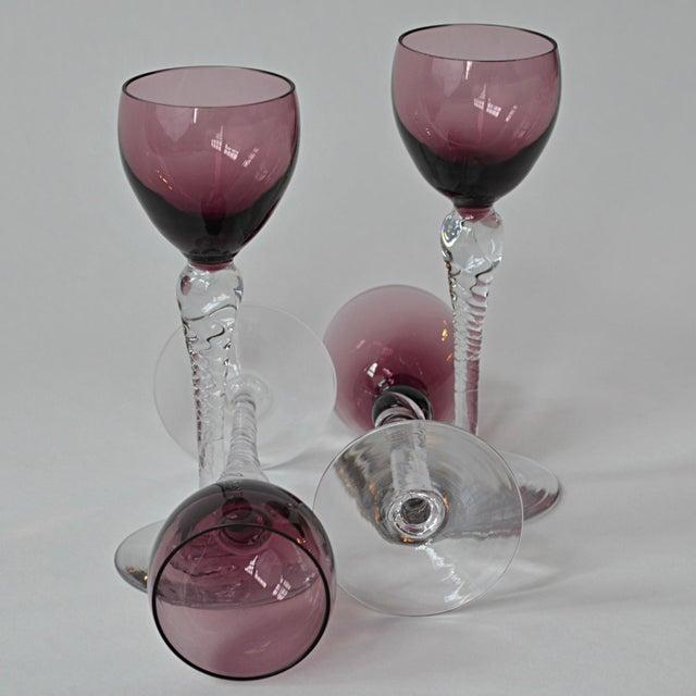 Vintage Mid Century Eggplant Port Glasses, Set of 4 - Image 5 of 6