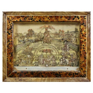 French Framed Cut Paper Diorama For Sale