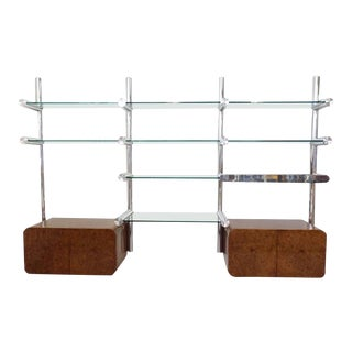 Polished Aluminum and Glass Orba Wall Unit Janet Schweitzer for Pace For Sale