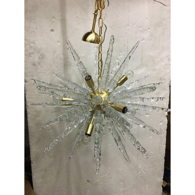 Murano Glass Sputnik Metal Frame Gold Brushed Chandelier For Sale - Image 12 of 12