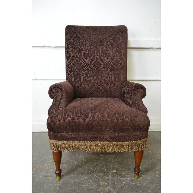 Drexel Pair of High Back Upholstered Host Arm Chairs (B) For Sale - Image 10 of 11