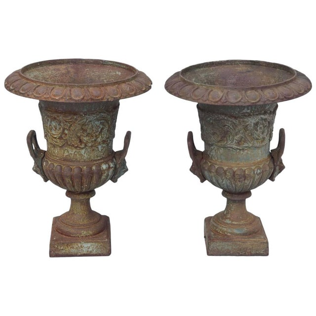 Pair of 19th Century French Iron Garden Urns For Sale - Image 11 of 11