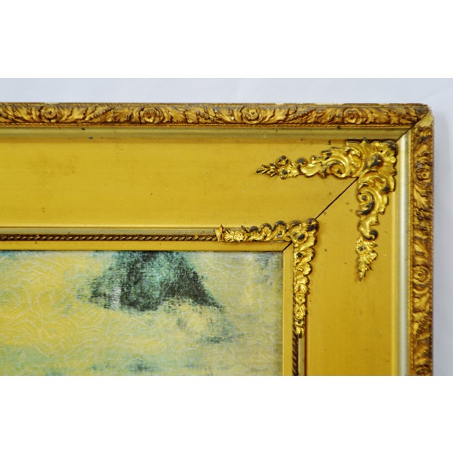 """Early 20th Century Vintage Gold Gilt Framed Renoir """"Boating on the Seine"""" Print on Board For Sale - Image 5 of 13"""