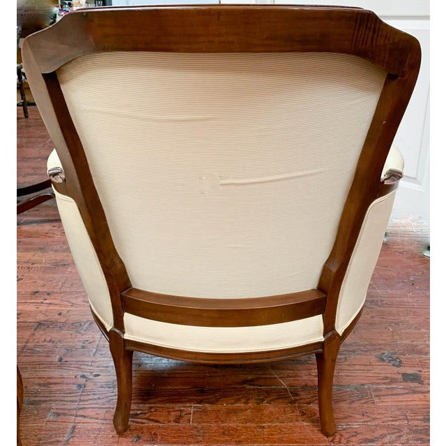 Pair of French Arm Chairs With Bow Tie Ottoman For Sale - Image 9 of 10