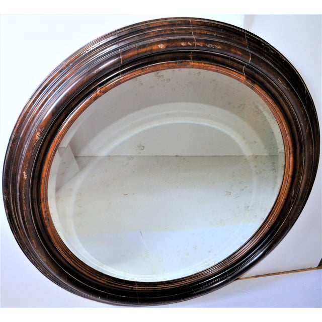 Glass Baker Furniture Round Distressed Solid Maple Mirror For Sale - Image 7 of 11