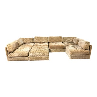 1970s Vintage Mid-Century Modern Milo Baughman 7pc Modular Sectional Sofa by Selig -Set of 7 For Sale