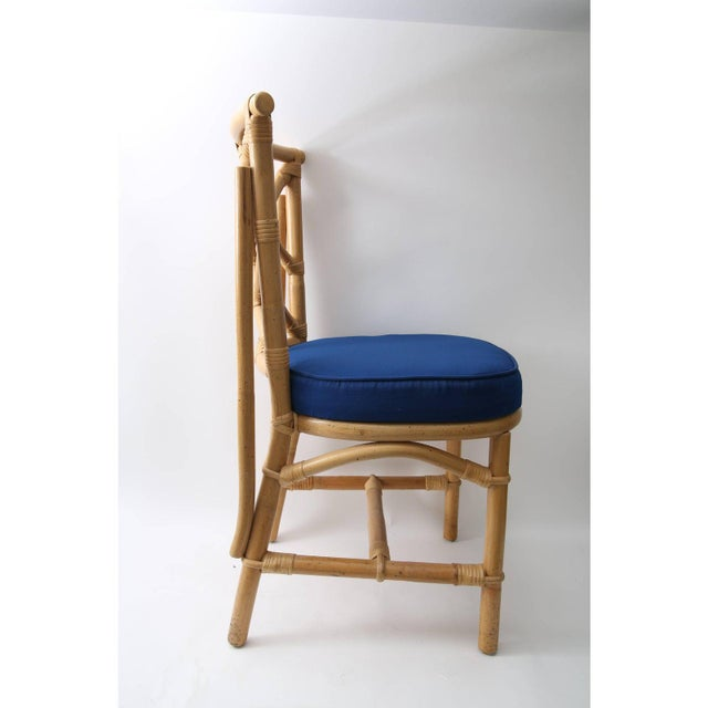 Vintage Chippendale Style Bamboo Side or Dining Chairs - a Set of 4 For Sale In West Palm - Image 6 of 13
