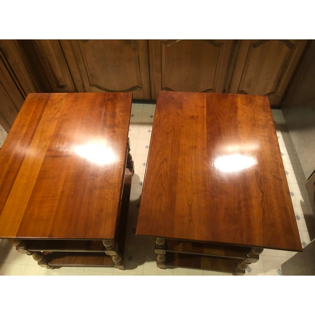 Cherry Wood 1950s Cherry Stickley End Tables - a Pair For Sale - Image 7 of 13